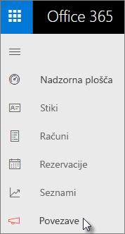 V levi vrstici za krmarjenje v nadzorni plošči Poslovnega središča izberite »Connections«