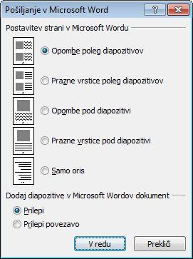 Pogovorno okno »Pošiljanje v Microsoft Word«