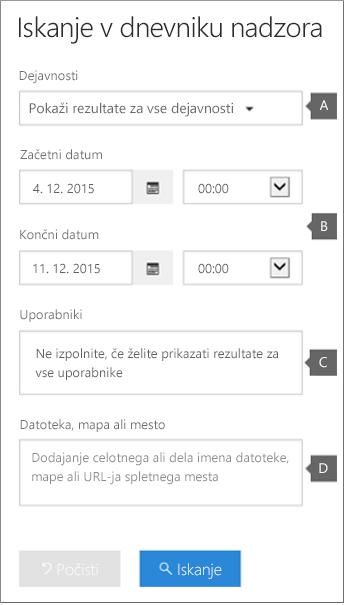 Konfigurirajte pogoje in kliknite »Išči«, da zaženete poročilo