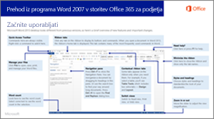 Sličica vodnika za preklop iz programa Word 2007 v storitev Office 365