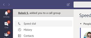 Obvestilo, da je Babek S. dodana v skupino klicev.