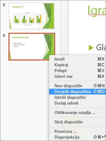 Posnetek zaslona prikazuje izbrani diapozitiv in izbrana v meniju desnega klika možnost podvojite diapozitiv.