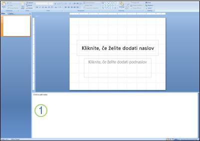 diapozitiv v navadnem pogledu z označenimi opombami za diapozitiv