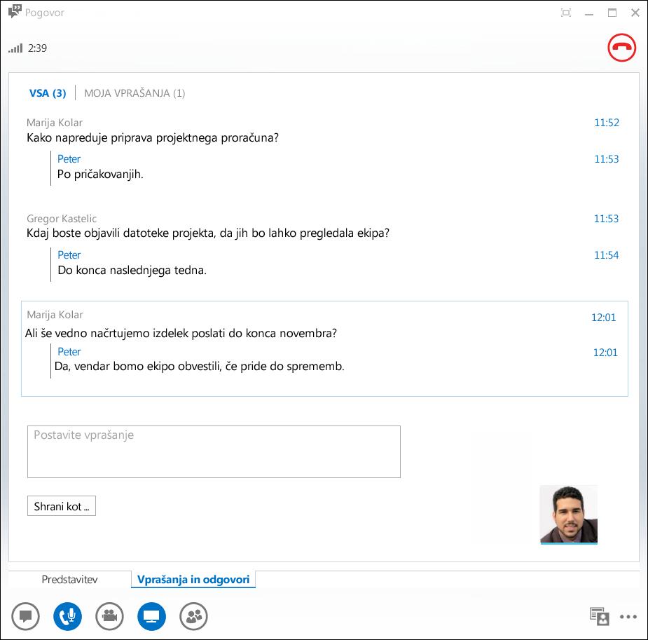 Posnetek zaslona upravitelja za vprašanja in odgovore