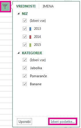 Kliknite »Izberi podatke«.
