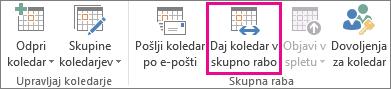 Gumb za skupno rabo koledarja na zavihku »Osnovno« v programu Outlook 2013