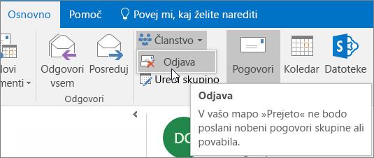 Uporabniki lahko prekličejo naročnino na skupino, nakar v svojo mapo »Prejeto« ne bodo prejemali več e-poštnih sporočil skupine.
