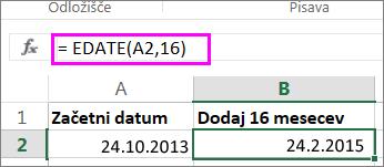 uporaba formulo EDATE za dodajanje mesecev v datum