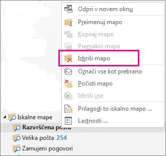 Brisanje iskalnih map