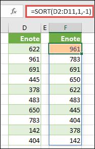 Razvrstite obseg vrednosti v padajočem vrstnem redu.
