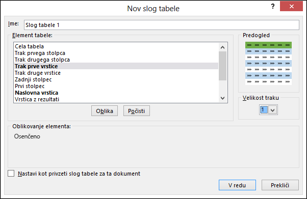 Možnosti v pogovornem oknu »Slog nove tabele« za uporabo slogov po meri v tabeli