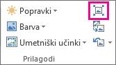 Prilagojena velikost skupine, v kateri so prikazane le ikone