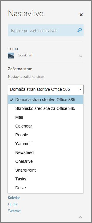 Spreminjanje začetne strani storitve Office 365