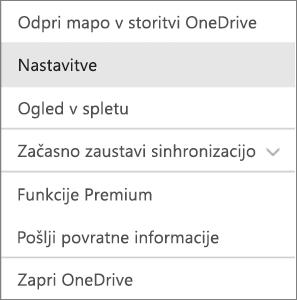 Središče za dejavnosti v storitvi OneDrive za Mac