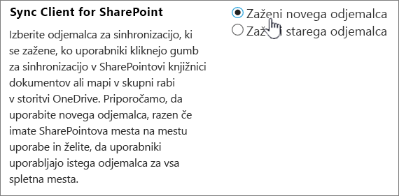 Skrbniške nastavitve za sinhronizacijo odjemalca storitve OneDrive