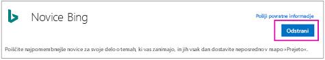 Gumb »Odstrani« v povezovalniku »Novice Bing«