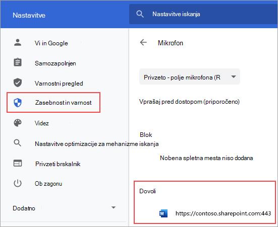 Stran z nastavitvami dovoljenj mikrofona za Chrome