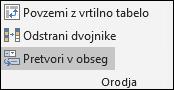 Pretvarjanje Excelove tabele v obseg