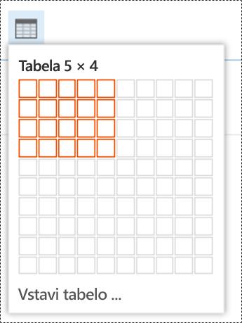 Dodajte preprosto tabelo v Outlooku v spletu.