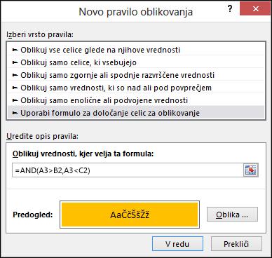 Pogojno oblikovanje > pogovorno okno za urejanje pravila, ki prikazuje metodo formule