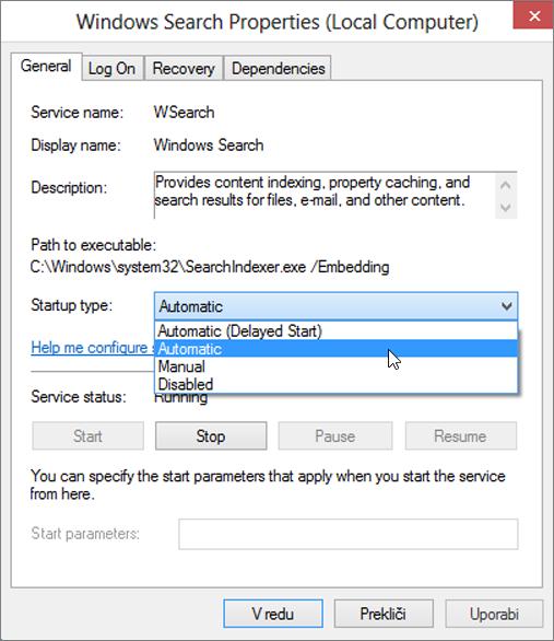 Posnetek zaslona pogovornega okna lastnosti iskanja Windows prikazuje nastavitev vrste zagona izbrana možnost samodejno.