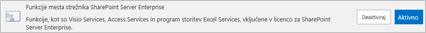 Aktiviranje funkcije mesta SharePoint Server Enterprise