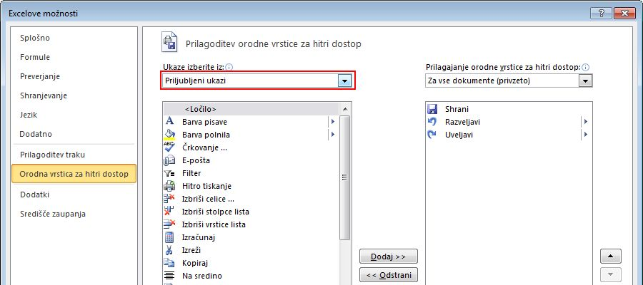Under Choose commands from, click the arrow to the right, and select Popular Commands.