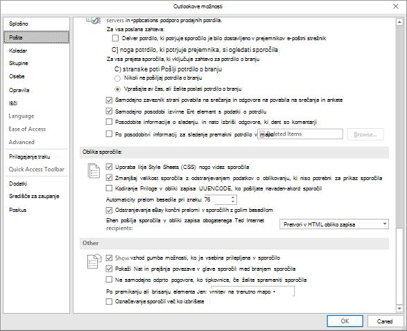 Strani z možnostmi Outlooka s pošto kategorije, ki so označena