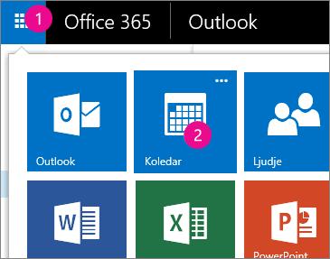 Outlook Web App, odpri meni koledarja
