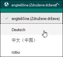 Spustni seznam, v katerem so prikazani jeziki, ki jih lahko izberete, da izpolnite obrazec v obrazcih Microsoft Forms