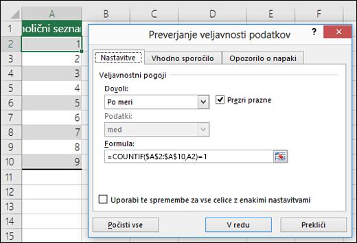 4. primer: Formule za preverjanje veljavnosti podatkov