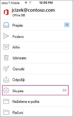 Skupine je vozlišče na seznamu map v Outlooku mobilne