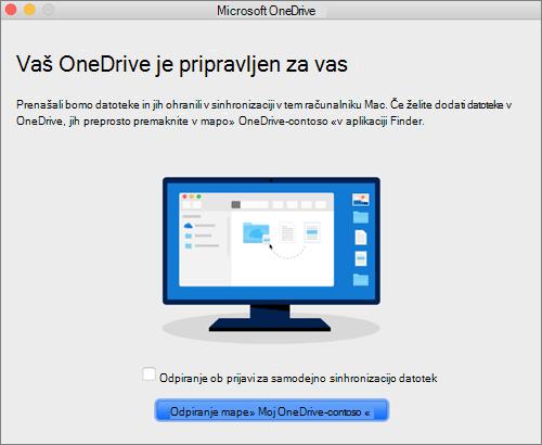 Posnetek zaslona, na katerem je prikazan zadnji zaslon v čarovniku »Dobrodošli v storitvi OneDrive« v računalniku Mac