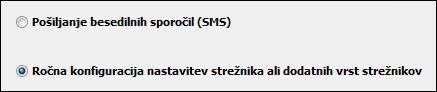 Nastavitve za ročno konfiguracijo strežnika v Outlooku 2010