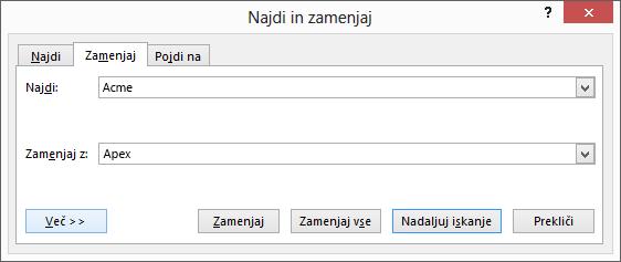 Pogovorno okno »Najdi in zamenjaj« v Outlooku.