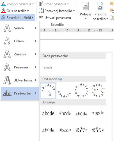 Izbiranje besedilnega učinka zavite pretvorbe