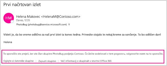 Vsa e-pošta, ki jo gostu pošljejo člani skupine, bo vsebovala nogo z navodili in s povezavami.