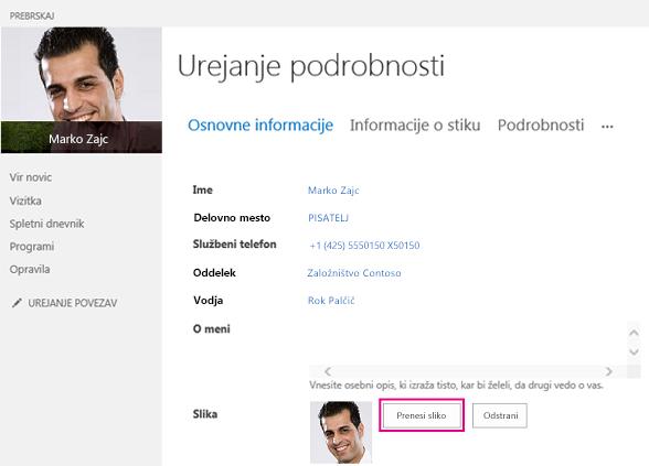 Posnetek zaslona spreminjanja slike v SharePointu z označenim gumbom za prenos slike