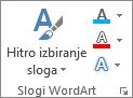 Skupina slogov WordArt, kjer so prikazane le ikone