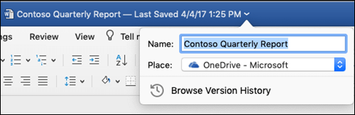 The file operations dialog box launched by clicking the title bar of a Word document.