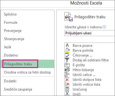 Datoteka > Možnosti > Prilagajanje traku