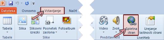 Dodatek LiveWeb je na voljo na zavihku» Vstavljanje «na traku, na skrajni desni strani