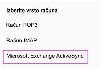 Izberite Microsoft Exchange ActiveSync