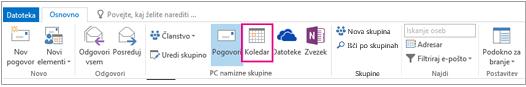 Gumb koledarja na traku skupin v Outlooku