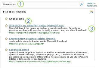 Tri najverjetnejše možnosti za strežnik SharePoint Server so prikazane na vrhu strani z rezultati iskanja
