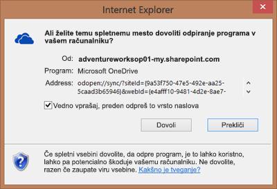 Posnetek zaslona pogovornega okna v Internet Explorerju s prošnjo za odobritev odpiranja storitve Microsoft OneDrive