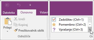 Posnetek zaslona seznama oznak v programu OneNote 2016.