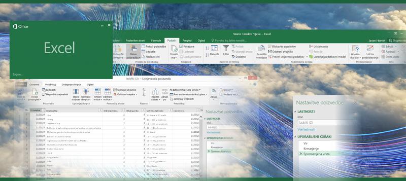 Poizvedba v programu Excel 2016