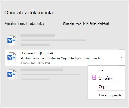 Prvotni dokument, ki ga je zadnji shranil uporabnik, naveden v podoknu za obnovitev dokumenta
