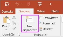 Pokaže gumb za nov diapozitiv na zavihku »Osnovno« na traku v PowerPointu